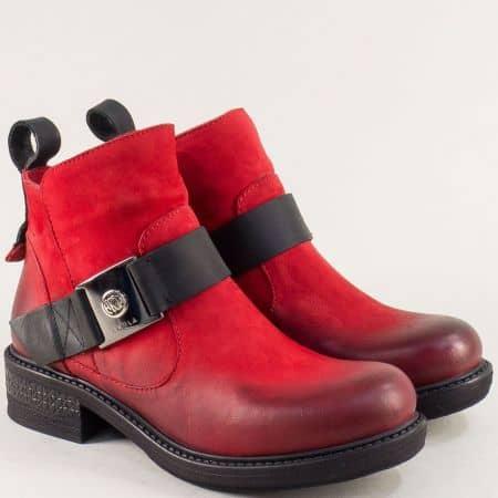 Червени дамски боти от естествен набук на нисък ток 2340nchv