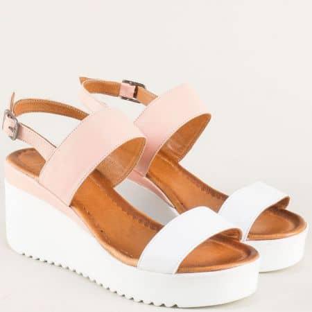 Дамски сандали от естествена кожа в розово и бяло 2348brz