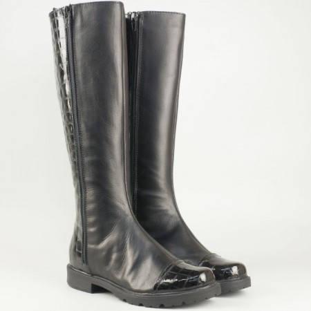 Дамски качествени ботуши произведени от висококачествена естествена кожа и лак на български производител в черен цвят 23571464ch
