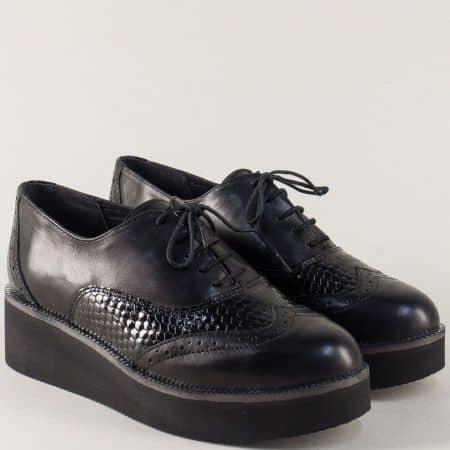 Черни дамси обувки с връзки от естествена кожа и лак 2364663ch