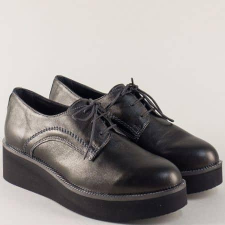 Бронзови дамски обувки от естествена кожа на платформа  2364853brz