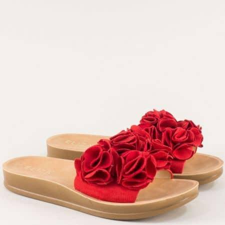 Дамски чехли в червен цвят на удобно ходило- ELIZA 2371chv