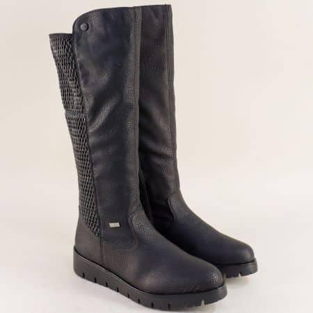 Черни дамски ботуши с естествен хастар на платформа 2390ch