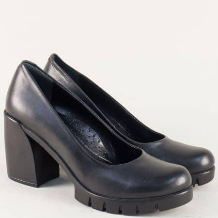 Черни дамски обувки на стабилен висок ток и платформа 2392ch