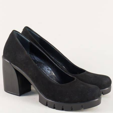 Дамски обувки в черен цвят на комфортно ходило с висок ток 2392vch