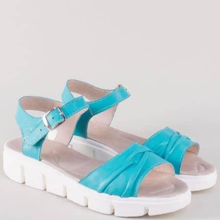 Български дамски сандали с катарама в син цвят 239382s