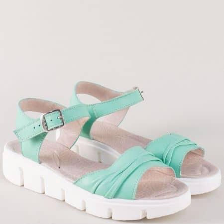 Зелени дамски сандали на платформа от естествена кожа 239382z