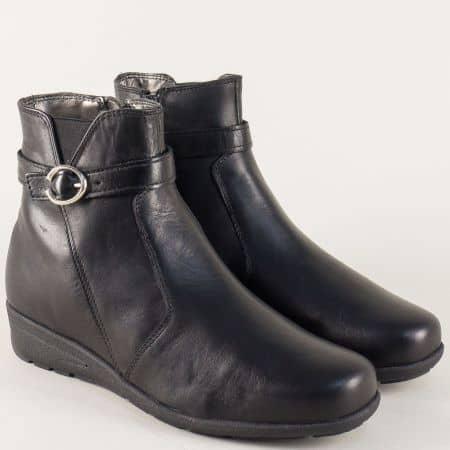 Български дамски боти в черно от естествена кожа 24008ch