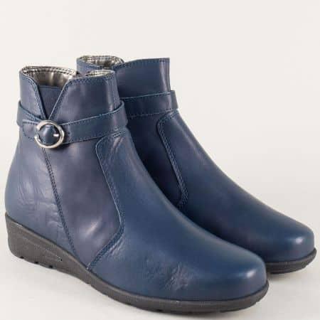 Сини дамски боти от естествена кожа с цип 24008s