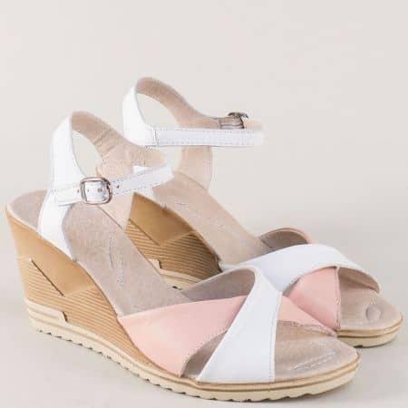 Дамски сандали на клин ходило в бяло и розово 24015462brz