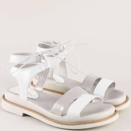 Кожени дамски сандали в сиво и бяло- NOTA BENE 24081178bsr
