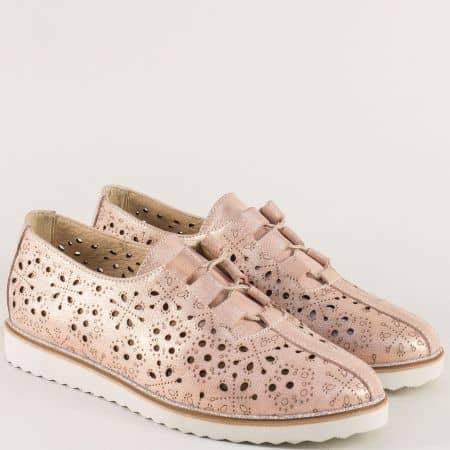 Равни дамски обувки от розова естествена кожа с блясък 24211055rz