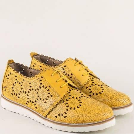 Жълти дамски обувки с кожена стелка и връзки- Nota Bene  24211133j