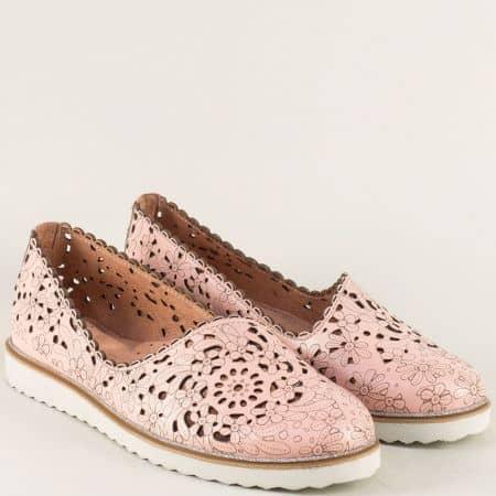 Розови дамски обувки с кожена ортопедична стелка 24211145rz