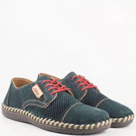 Швейцарски мъжки шити обувки с връзки- Rieker с вградена Flex - Comfort система, от естествен велур с лазерна перфорация 2426vs