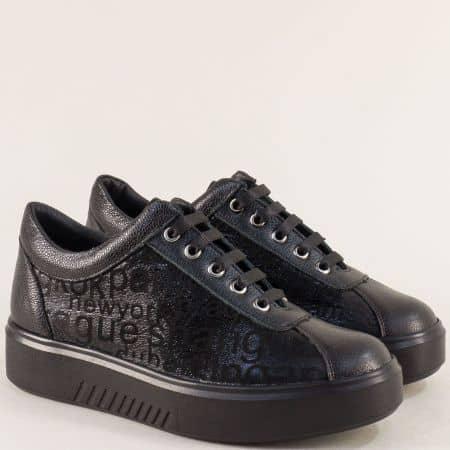 Дамски спортни обувки от естествена кожа в черен цвят 24391149ch