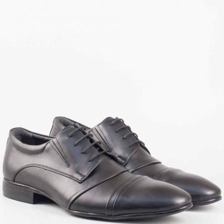 Официални мъжки обувки с връзки от естествена кожа в черен цвят 243ch