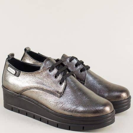 Бринзови дамски обувки от естествена кожа на платформа 244851brz