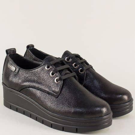Кожени дамски обувки на платформа в черен цвят 244851ch