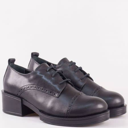 Дамски обувки в черен цвят с кожена стелка 24501ch