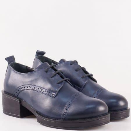 Практични дамски обувки с връзки на среден ток от естествена кожа в син цвят 24501s