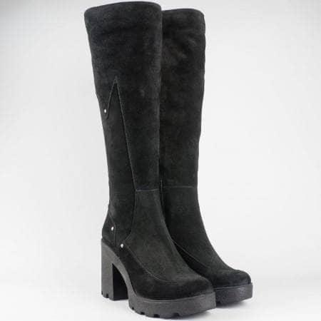 Черни дамски ботуши на висок ток от естествен велур 24582vch
