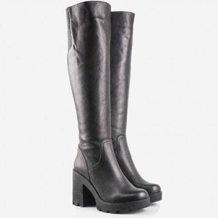 Дамски качествени ботуши със семпъл дизайн на грайферно стабилно ходило от естествена кожа 24583ch