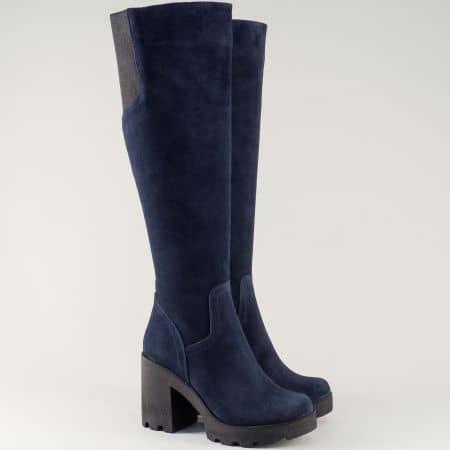 Сини дамски ботуши от естествен велур на висок ток 24583vs