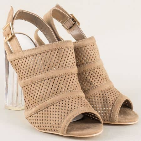Бежови дамски обувки на висок ток в бежов цвят 246117vbj