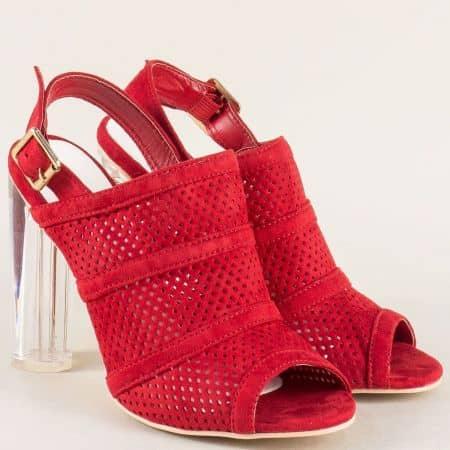 Ефектни дамски обувки с перфорация в червен цвят на висок ток 246117vchv