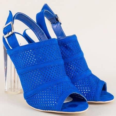 Стилни дамски обувки в синьо на висок стабилен ток 246117vs