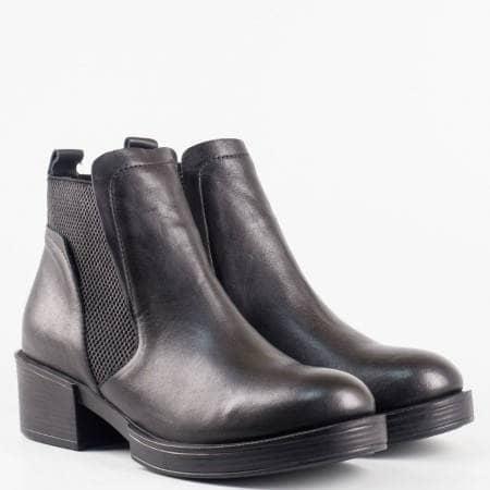 Дамски стилни боти от естествена кожа в класически черен цвят с регулиращи ластици 24659ch
