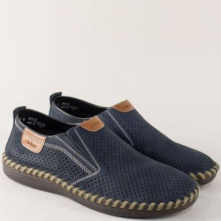 Перфорирани мъжки обувки от син естествен набук- Rieker  2465ns