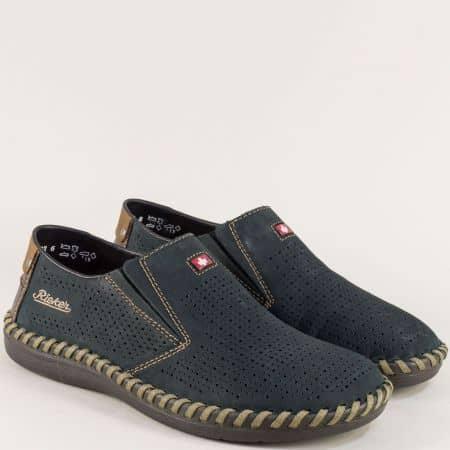 Перфорирани мъжки обувки на шито ходило в син цвят 2487ns