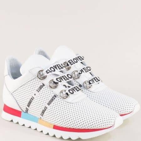 Бели дамски маратонки от естествена кожа с перфорация 2498599b