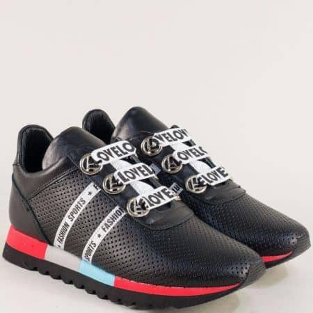 Перфорирани дамски маратонки с връзки в черен цвят 2498599ch