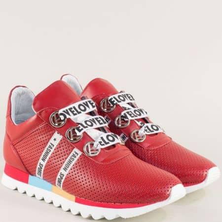Червени дамски маратонки с връзки и кожена стелка 2498599chv