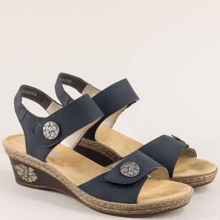 Сини дамски сандали на клин ходило от естествена кожа 249s