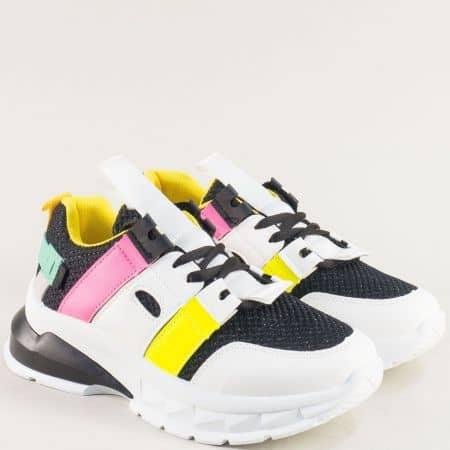 Дамски маратонки в жълто, розово, бяло и черно 25025ch