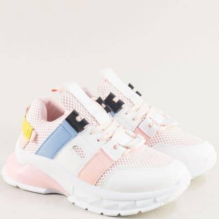 Дамски маратонки на платформа в бяло, розово и синьо 25025rz