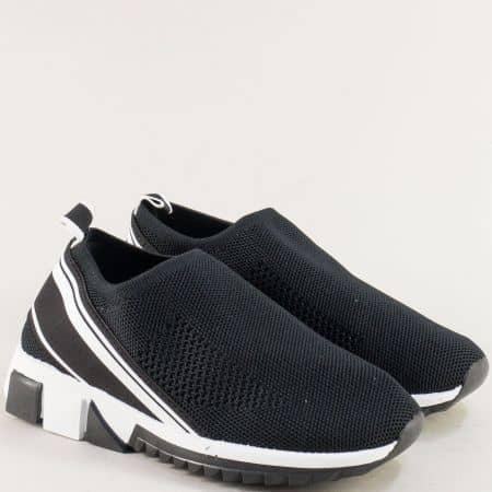 Дамски маратонки в черно и бяло на равно ходило 25029ch