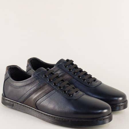 Тъмно сини мъжки обувки с връзки от естествена кожа 2511s