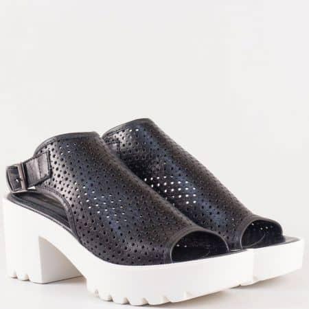 Дамски сандали за всеки ден произведени от изцяло естествена кожа в черен цвят  25507ch