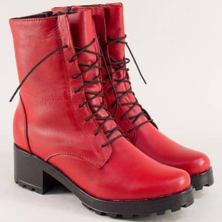 Червени дамски боти от естествена кожа на нисък ток 2551610chv