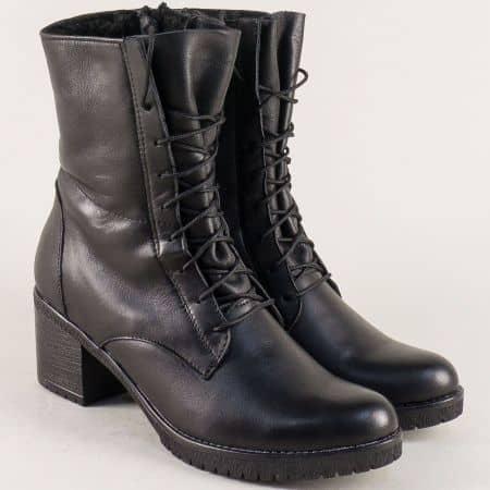 Черни дамски боти с връзки и цип от естествена кожа 2551611ch