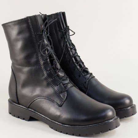Дамски боти от естествена кожа в черен цвят с връзки и цип 2551711ch
