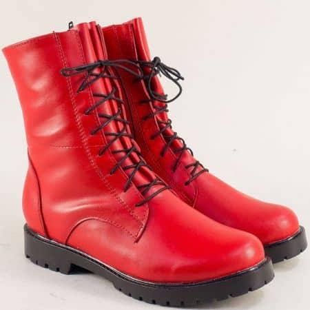 Равни дамски боти от естествена кожа в червен цвят 2551711chv