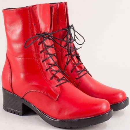 Червени дамски боти, тип кубинка от естествена кожа 2556658chv