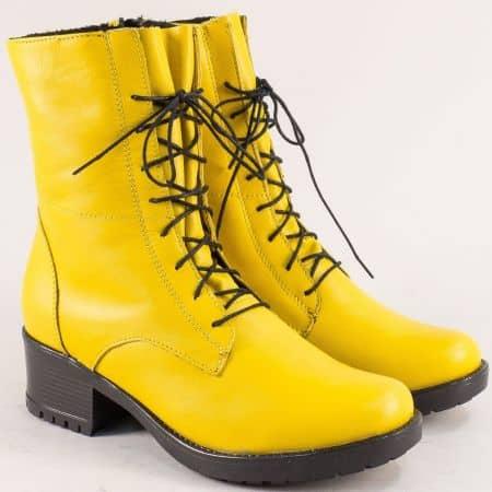 Жълти дамски боти, тип кубинка от естествена кожа 2556658j