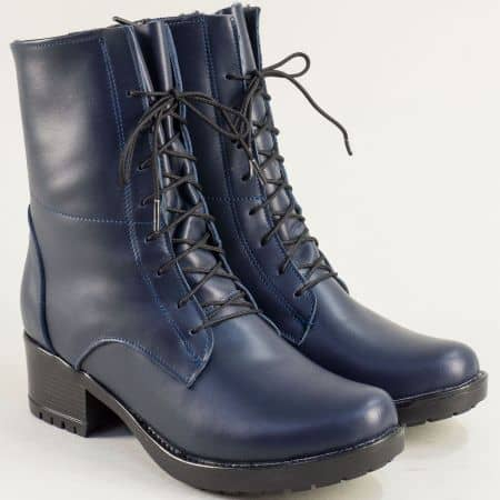 Сини дамски боти на нисък ток от естстествена кожа 2556658s